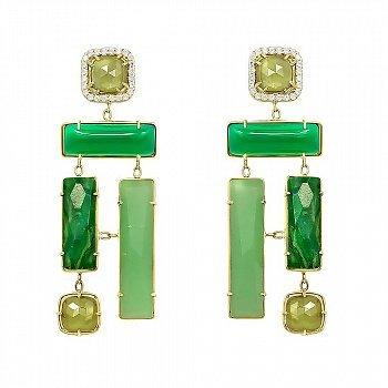 Золотые серьги-подвески с жадеитом, зеленым авантюрином, корундом, халцедоном и фианитами 000081443