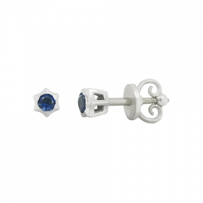 Серебряные серьги-пуссеты Эми с синим цирконием 000081819