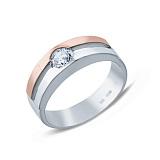Серебряное кольцо с золотой накладкой и фианитом Слияние