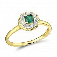 Кольцо из желтого золота с изумрудом и бриллиантами Синди