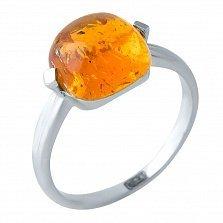 Серебряное кольцо Ермиония с янтарем в ромбовидных крапанах
