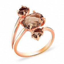 Золотое кольцо с раухтопазами Триединство