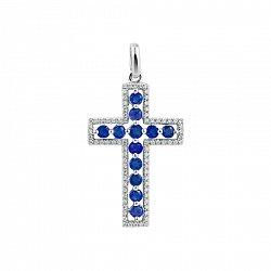 Крестик из белого золота Весна с бриллиантами и сапфирами