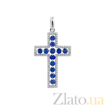 Крестик из белого золота Весна с бриллиантами и сапфирами 000081076