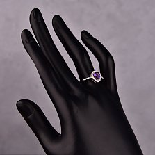 Серебряное кольцо Софина с аметистом и инкрустацией белыми фианитами