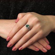 Серебряное кольцо Арника с зеленым кварцем и фианитами