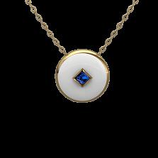Золотой кулон Соломия с сапфиром и белой эмалью