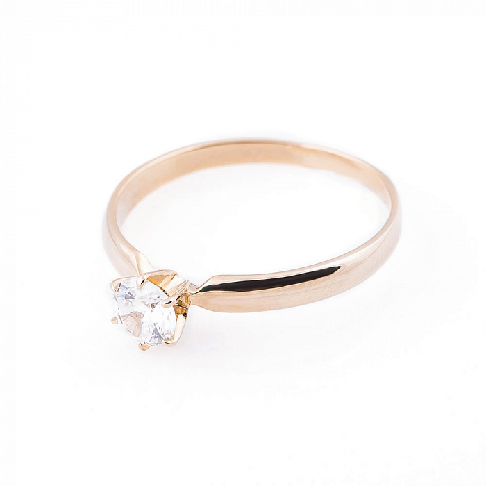 Золотое помолвочное кольцо Адель в желтом цвете с белым фианитом 000082353