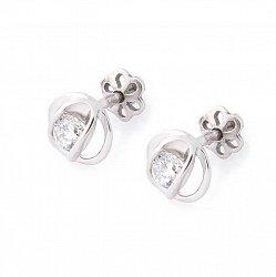 Серебряные серьги-пуссеты Розита с цирконием