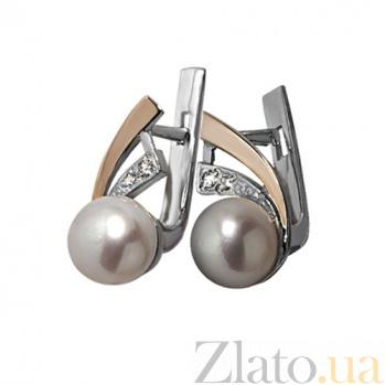 Серебряные серьги Восток с золотыми вставками, жемчугом и фианитами BGS--275с ж