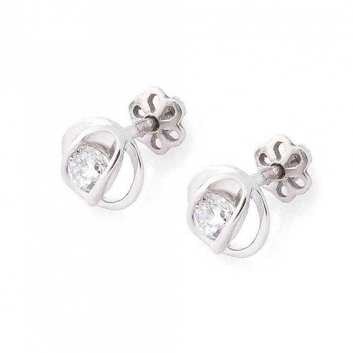 Серебряные серьги-пуссеты Розита с цирконием 000080220
