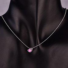 Серебряная подвеска Птенчик с розовой эмалью