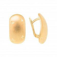 Золотые серьги Сорея в красном золоте с алмазными насечками