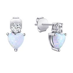 Серебряные серьги-пуссеты с опалом и фианитами 000139654