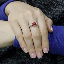 Серебряное кольцо Магда с красным кораллом и цирконием