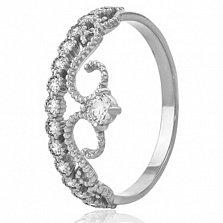 Кольцо из белого золота Королева красоты с кристаллами Swarovski