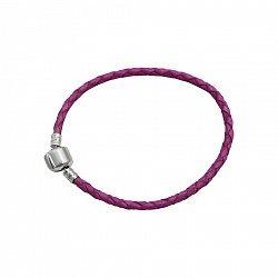 Браслет из серебра и розовой плетеной кожи 000082052