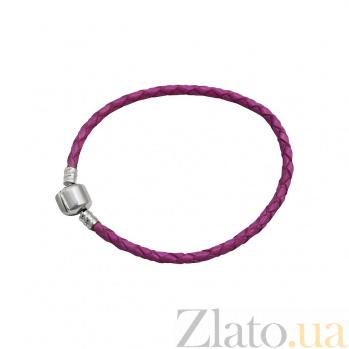 Браслет из серебра и розовой плетеной кожи Лос-Анджелес 000082052