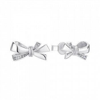 Серебряные серьги-пуссеты с фианитами 000146074