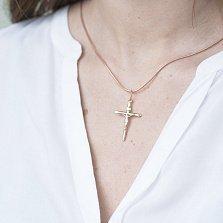 Золотой крестик Воскрешение с родированными деталями