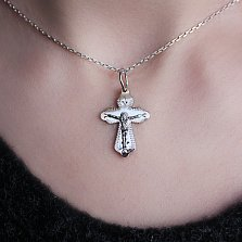 Серебряный крестик Ангел Хранитель с золотой накладкой и узорной насечкой