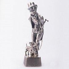 Серебряная статуэтка ручной работы Юный франт с таксой