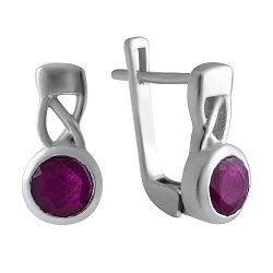 Серебряные серьги с рубином 000075762