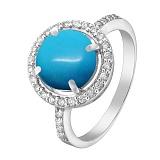 Серебряное кольцо Андромеда с бирюзой и фианитами