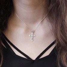 Серебряный крестик Святость с ажурными основой и бунтиком