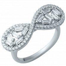 Серебряное кольцо Узор вечности с кристаллами циркония
