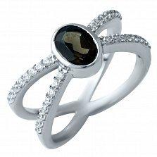 Серебряное кольцо Поликсена с раухтопазом и фианитами
