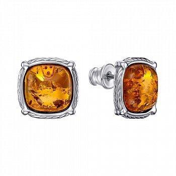 Серебряныее серьги-пуссеты с янтарем 000146328