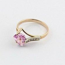 Золотое кольцо с аметистом и фианитами Ингеборга