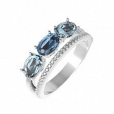 Серебряное кольцо Мальнея с кварцем под голубой и лондон топазы и фианитами
