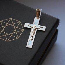 Золотой крест Благодать в комбинированном цвете