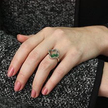 Серебряное кольцо Плавающие камни в цветке с зелеными фианитами