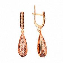 Серьги-подвески с белым и оранжевым цирконием Леди
