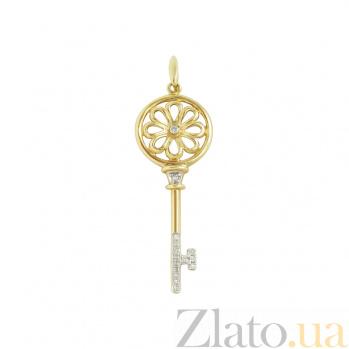 Золотой подвес с бриллиантами Солнечный ключик 1П551-0150