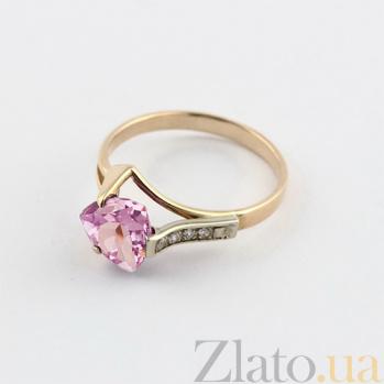 Золотое кольцо с аметистом и фианитами Ингеборга 000024442