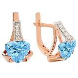Золотые серьги Шакира с голубым топазом и фианитами