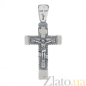 Крестик из серебра с родированием HUF--3505-Р