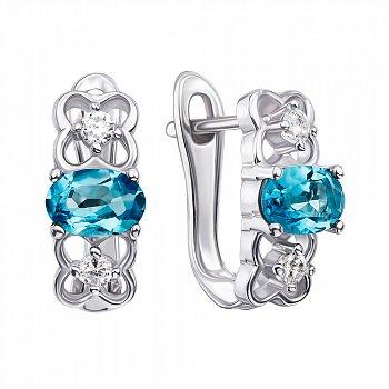 Срібні сережки з топазами і фіанітами 000126607