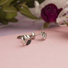 Серебряные пуссеты Счастливое сердечко с фианитами