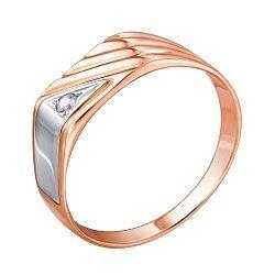 Золотой перстень-печатка с цирконием 000104019