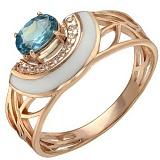 Золотое кольцо Эйприл с топазом, фианитами и эмалью
