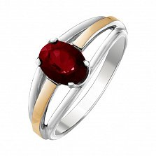 Серебряное кольцо Ранита с рубином и золотыми накладками