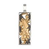 Подвеска Пантера золотистая из белого золота