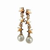 Золотые серьги-висюльки с жемчугом Звезда морей