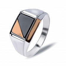 """Перстень печатка из серебра с золотом и обсидианом """"Рикардо"""""""