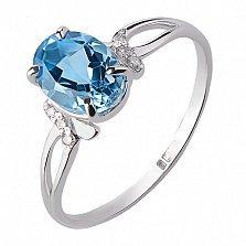 Кольцо из белого золота с голубым топазом и бриллиантами Сидни